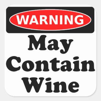 May Contain Wine Square Sticker
