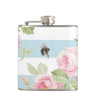 May Day Summer Roses aqua stripe Hip Flask