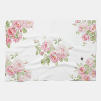 May Day Summer Roses bleached Linen Tea Towel