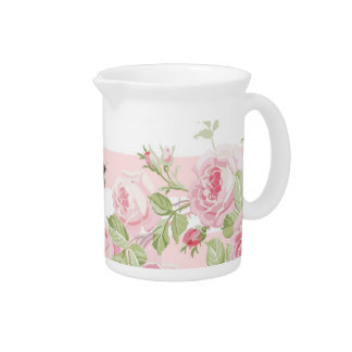 May Day Summer Roses peony stripe pitcher