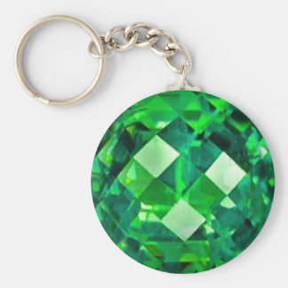 May EMERALD BIRTHSTONE GEM Basic Round Button Key Ring