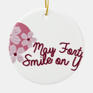 May Fortune Smile on You Round Ceramic Decoration