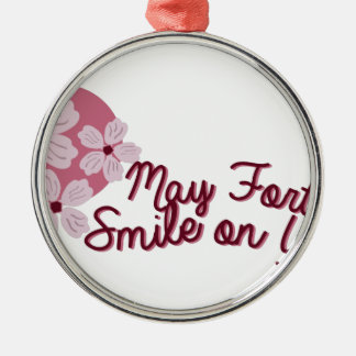 May Fortune Smile on You Silver-Colored Round Decoration