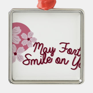 May Fortune Smile on You Silver-Colored Square Decoration