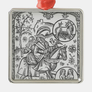 May, from the 'Almanach des Bergers', 1491 Silver-Colored Square Decoration