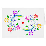 May God Bless You, with Flowers, Swirls, & a Heart Note Card