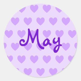 May in Purple Round Sticker