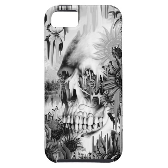 May showers melting floral skull in grey iPhone 5 cover