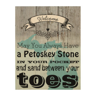 May You Have Petoskey Stone In Pocket Sand Between Wood Canvases