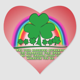 MAY YOUR BLESSINGS OUTNUMBER SHAMROCKS HEART STICKER