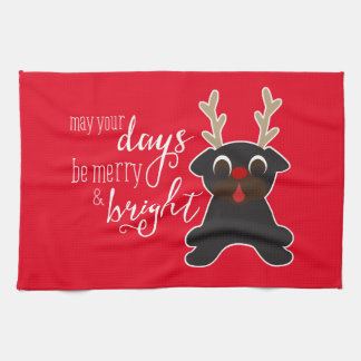 May Your Days Merry Christmas Pug Reindeer Towel