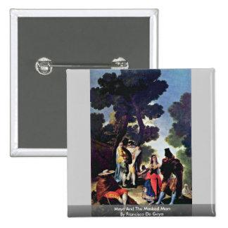 Maya And The Masked Man By Francisco De Goya 15 Cm Square Badge