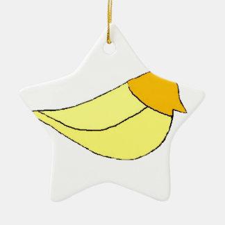 MAYA BIRD YELLOW Double-Sided STAR CERAMIC CHRISTMAS ORNAMENT