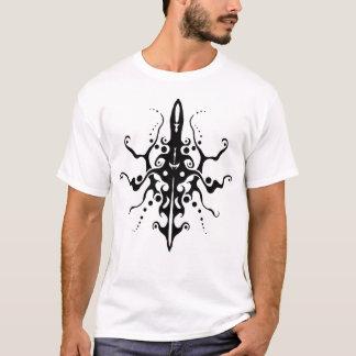 Maya Mask Tribal Tattoo - black and white T-Shirt
