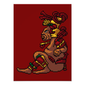 Maya Tribal God of Masculinity Pixel Art Photo