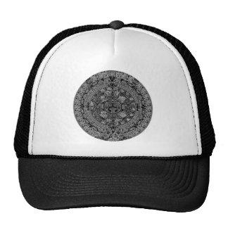 Mayan Aztec Calendar black 12 21 2012 Mesh Hats