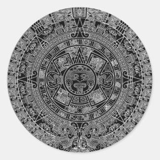 Mayan Aztec Calendar (black) 12.21.2012 Round Sticker