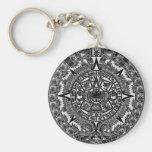 Mayan Aztec Calendar (black) Dec.21, 2012 Basic Round Button Key Ring