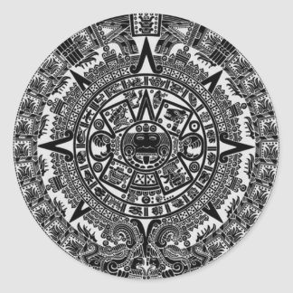 Mayan Aztec Calendar (black) Dec.21, 2012 Round Sticker