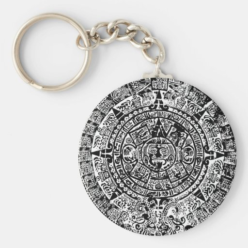 Mayan Calendar Black Basic Round Button Key Ring