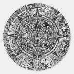 Mayan Calendar Black Round Sticker