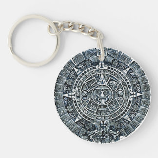 Mayan Calendar/Maya calendar Double-Sided Round Acrylic Key Ring