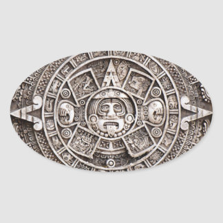 Mayan Calendar Oval Sticker