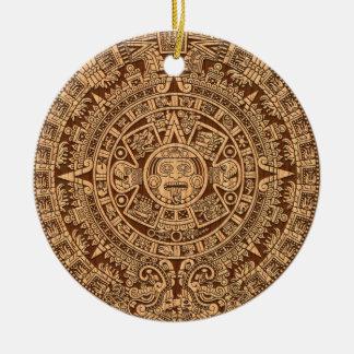 Mayan Calendar Round Ceramic Decoration