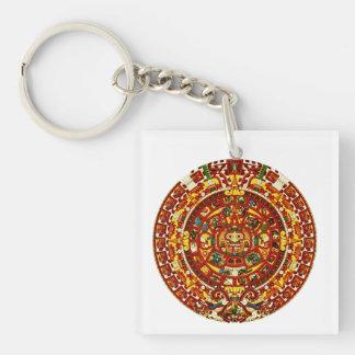 mayan calendar square acrylic key chain