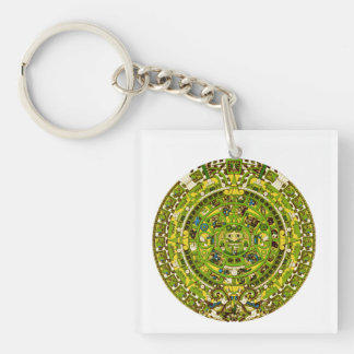 mayan calendar square acrylic key chains