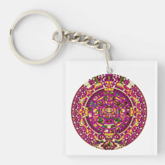 mayan calendar square acrylic keychain