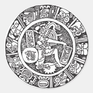 Mayan circle, Mexican hieroglyph(Maya) Classic Round Sticker
