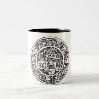 Mayan circle, Mexican hieroglyph(Maya) Two-Tone Coffee Mug