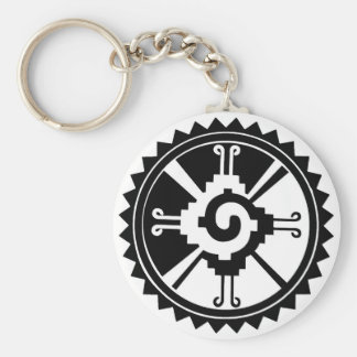 Mayan Deity Symbol Hunab Ku Basic Round Button Key Ring