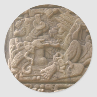 Mayan glyph 2 classic round sticker