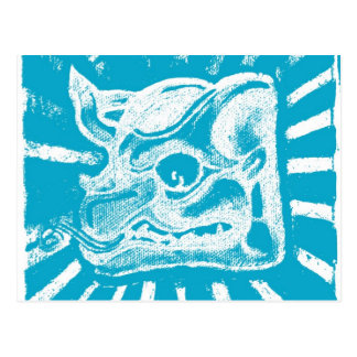 mayan glyph (blue) post cards