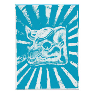 Mayan Glyph in Blue Poster