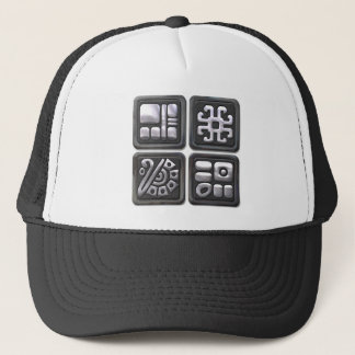 Mayan Glyphs-black and silver Trucker Hat