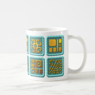 Mayan Glyphs - Turquoise and Gold Coffee Mug