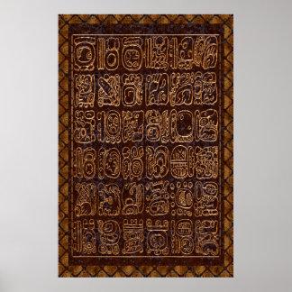 Mayan Hieroglyphics Panel Foil Folk Art Poster