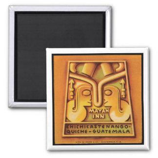 Mayan Inn Guatamala Travel Poster Square Magnet