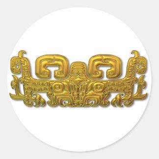 Mayan Jaguar - Gold Classic Round Sticker