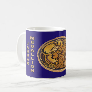 MAYAN JAGUAR MEDALLION-DARK BLUE- MAYAN GOLD COAST COFFEE MUG