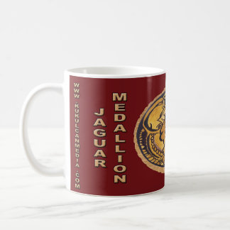 MAYAN JAGUAR MEDALLION- DARK RED- MAYAN GOLD COAST COFFEE MUG