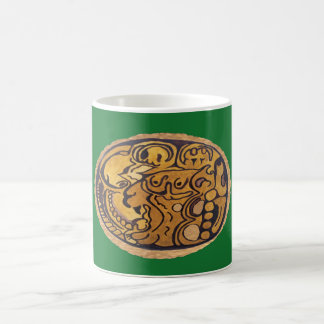 MAYAN JAGUAR MEDALLION- GREEN- MAYAN GOLD COAST COFFEE MUG