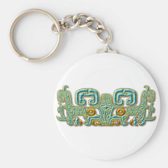Mayan Jaguar-turquoise and gold Basic Round Button Key Ring
