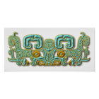 Mayan Jaguar-turquoise and gold Poster