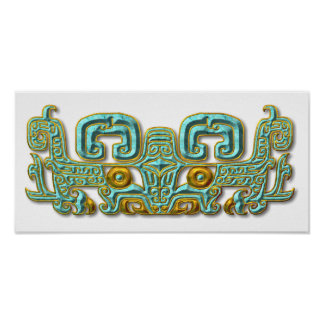 Mayan Jaguar-turquoise and gold Poster