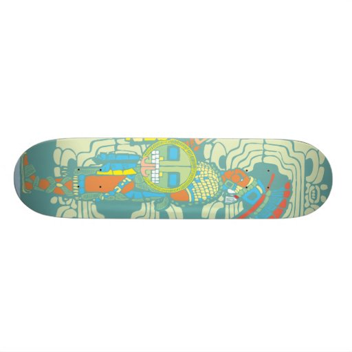Mayan King and Warrior Skate Deck