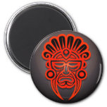 Mayan Mask Design, Red and Black